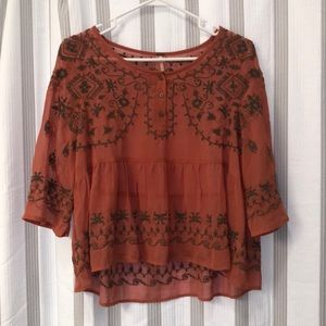 Coral Free people with brown embroidery details